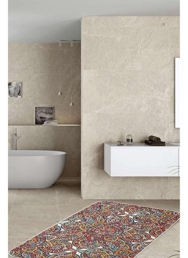 Hamur Mandala 75x125 cm Banyo Paspası Kaymaz Taban Banyo Halısı Renkli